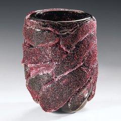 Glass Vase Black & Red Venetian Handmade