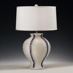 Round Lamp with Raised Vertical Trim in Dark Blue