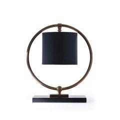 Fairmount Table Lamp Black Fabric Shade Brass Free Ship