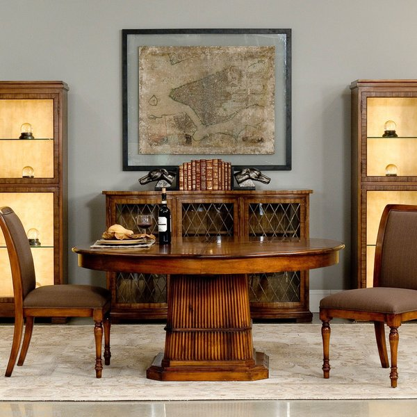 Dining Table Round Expands Jupe Reed Base British Colonial 84 64 Converts Walnut New