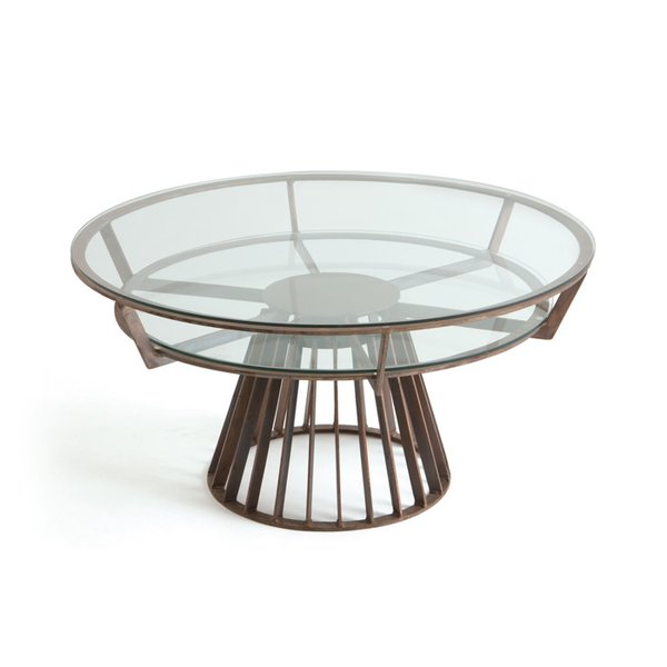 Antique Round Copper Coffee Table: Revolving Coffee Table In Antique Copper
