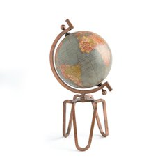 Industrial Globe on Metal Stand Decor