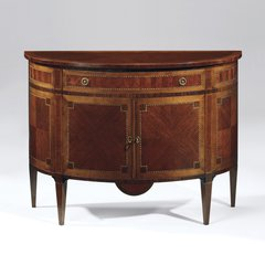French Neoclassical Demilune Cabinet with Inlay Detail