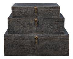 Nesting Boxes Set of 3 Shagreen Leather