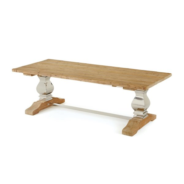 Dining table trestle style nickel finish martelle for Dining table support
