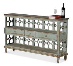 Art Deco Cabinet Shelf Console Table in Blue