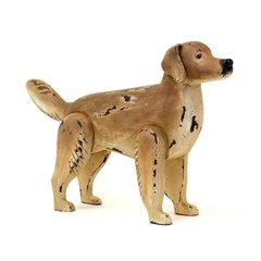 Dog Figurine Sculpture in Carved Wood