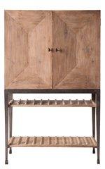 Wine Cabinet Walnut Iron Glass Shelves Modern