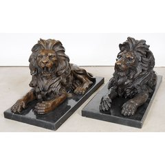 #Lions Laying on Marble Slabs Cast #Bronze Handmade New Free Shipping Large
