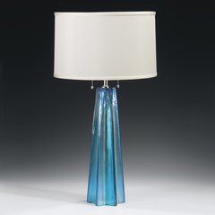 Bohemian Venetian Glass Lamp Blue Star