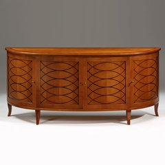 Art Deco Credenza in Demilune Shape with Cherry Finish
