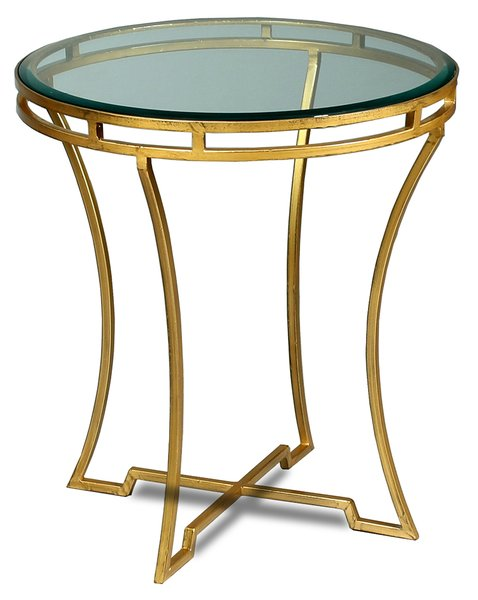 Round side table art deco gold martelle for Round gold side table