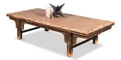 Distressed Coffee Table Reclaimed Pine w/ Rattan Top