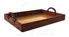 Serving Tray Leather Brass Insert