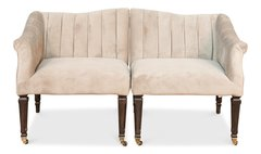 Loveseat Set w/ Casters and Fabric Upholstery