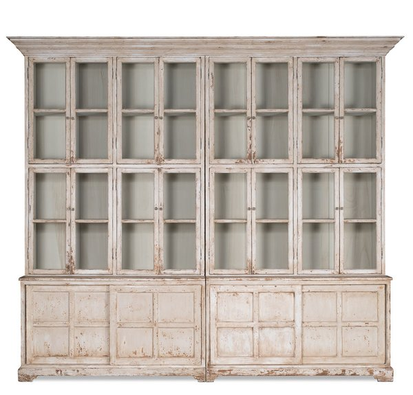 #Bookcase Cabinet Glass Doors Antique White #French Country Large Handmade  New - Bookcase Cabinet Glass Doors Antique White #French Country Large
