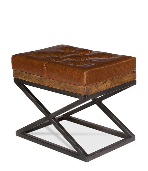Leather Ottoman Bench W Steel Base Martelle
