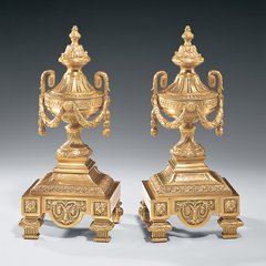 Solid Brass Andiron Set for Fireplace w/ Greek Key Motif Free Shipping