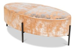 Oval Stool Leather w/ Antique Silver Finish