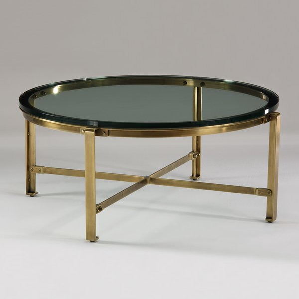 Industrial Coffee Table Cocktail Brass Glass