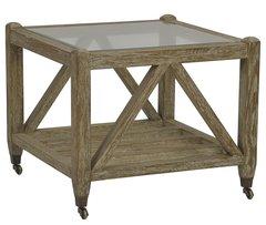 Caster Side Table w/ Glass Top & Oak