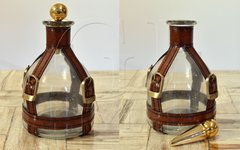 Leather & Glass Decanter with Brass Cap Ships Free