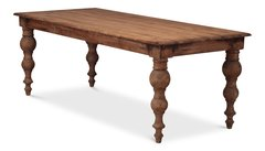 Dining Table with Turned Legs Pine Wood