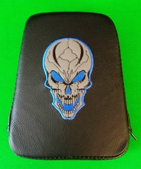 051i.  Backrest Pad - Grey Leather Skull with Black & Blue Stitch