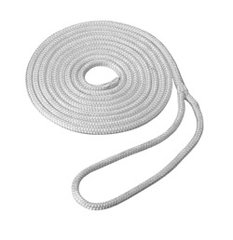 Soft Nylon 7.5 m White 10mm Double Braided Mooring Line/Canoe Painter