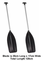 H2o Raft/Canoe Paddle 120cm Black Blade T Handle Pair