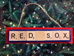 Boston Red Sox Scrabble Tiles Ornament Handmade Holiday Christmas Wood