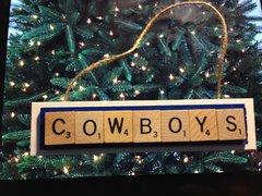Dallas Cowboys Scrabble Tiles Ornament Handmade Holiday Christmas Wood
