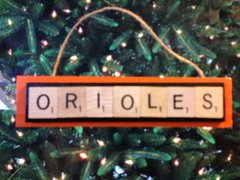 Baltimore Orioles Scrabble Tiles Ornament Handmade Holiday Christmas Wood