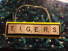 Missouri Tigers Scrabble Tiles Ornament Handmade Holiday Christmas Wood