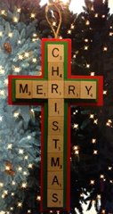 Merry Christmas Cross Scrabble Tiles Ornament Handmade Holiday Wood