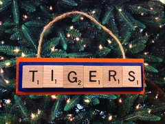 Auburn Tigers Scrabble Tiles Ornament Handmade Holiday Christmas Wood