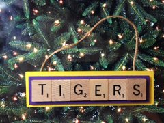 LSU Tigers Scrabble Tiles Ornament Handmade Holiday Christmas Louisiana State