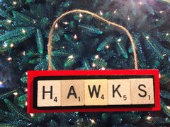 Atlanta Hawks Scrabble Tiles Ornament Handmade Holiday Christmas Wood