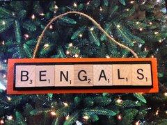 Cincinnati Bengals Scrabble Tiles Ornament Handmade Holiday Christmas Wood