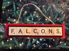 Atlanta Falcons Scrabble Tiles Ornament Handmade Holiday Christmas Wood