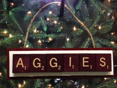 Texas A&M Aggies ATM Scrabble Tiles Ornament Handmade Holiday Christmas Wood