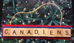 Montreal Canadiens Scrabble Tiles Ornament Handmade Holiday Christmas Wood