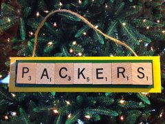 Green Bay Packers Scrabble Tiles Ornament Handmade Holiday Christmas Wood