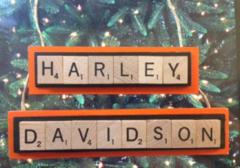 Harley Davidson Christmas Ornament Scrabble Tiles Handmade Wood