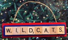 Arizona Wildcats Scrabble Tiles Ornament Handmade Holiday Christmas Wood