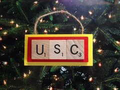 USC Trojans Scrabble Tiles Ornament Handmade Holiday Christmas Wood