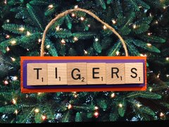 Clemson Tigers Scrabble Tiles Ornament Handmade Holiday Christmas Wood