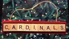 Arizona Cardinals Scrabble Tiles Ornament Handmade Holiday Christmas Wood