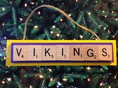 Minnesota Vikings Scrabble Tiles Ornament Handmade Holiday Christmas Wood