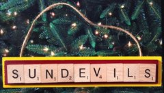 ASU Arizona State Sundevils Scrabble Tiles Ornament Handmade Holiday Christmas Wood